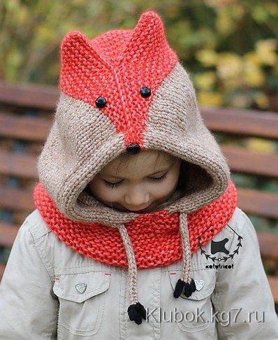 Free knitting pattern for Sly Fox Hood: